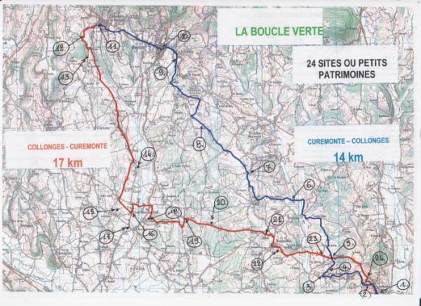 itinéraires des 14 - 17 et 31 km de la boucle verte